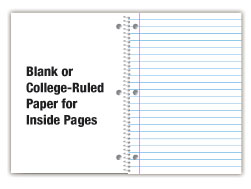 standard notebook college rule or blank sheets